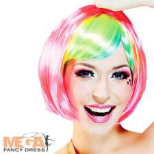 Short Multi-Coloured Wig Ladies Fancy Dress Halloween Hen Party Womens Accessory