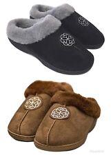 Zanders Women's Microsuede Faux Fur Lined Memory Foam Non Slip Clog Slippers