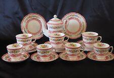 Vintage Crown Staffordshire Pink Lyric Tunis Coffee Pot Set Large Breakfast Cups