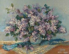 WALL JACQ. WOVEN TAPESTRY Lilac Flowers EUROPEAN PURPLE AND AQUA DECOR PICTURE