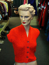 Ladies 1940/1950s Tangerine Short sleeve Cardigan WWII reenactment Tea Dance WW2