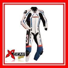 TUTA PULSAR IXON per moto SUIT LEATHER racing con gobba blu rosso nero bianco