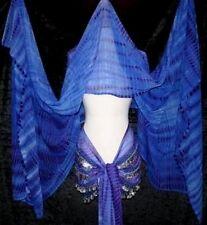 BLUE TRIBAL GYPSY BELLY DANCE DANCING DANCER 3 YARD VEIL & COIN HIP SCARF SET