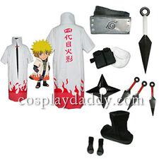 Naruto 4th Hokage Namikaze Minato cosplay costume cloak+shoes+props Japanese