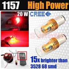 2x 1157 High Power 20 Watt Cree Chip Red Turn Signal Tail Brake LED Light Bulbs