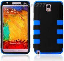 For Samsung Galaxy Note III 3  black blue soft hard case 2 layer + heavy duty
