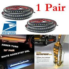 "1 Pair 70"" Flexible IP68 Car Side Kick Running Board LED Light Strip White Amber"
