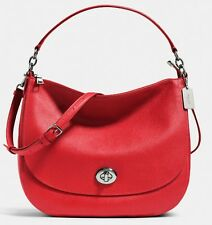 NEW AUTHENTIC COACH  TURNLOCK HOBO IN POLISHED RED PEBBLE LEATHER