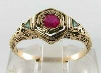 CLASS COMBO 9CT 9k GOLD  RUBY EMERALD ART DECO INS FILIGREE RING FREE RESIZE