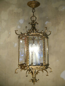 RARE BRASS 6 SQUARE 5 LIGHT LANTERN SOLID CEILING LAMP CHANDELIER GLASS