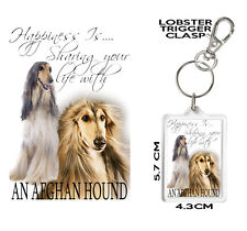 AFGHAN HOUND KEYRING Can Be Personalised Happiness Is... AFGHAN HOUND Gift