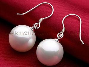 Genuine Natural 14mm South Sea White Shell Pearl Silver Hook Dangle Earrings AAA