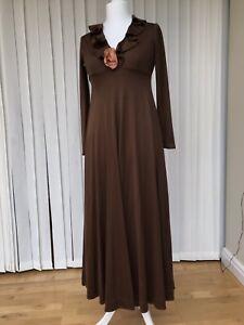 Vintage 1970s brown long maxi Boho dress by Frank Usher Hippy Festival Party 10