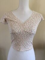 Brandy Melville beige/pink floral crop rouched v neck gina top NWT XS/S