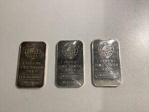 3x Vintage Engelhard 1oz .999 Silver  Bullion Bar A19.41