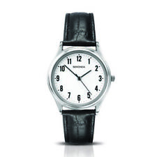 Sekonda 35mm Gents Silver Watch With Black Leather Band SK3621