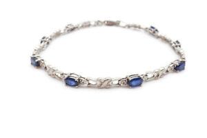 "10k White Gold Sapphire And Diamond 1.75 CT Tennis Link Bracelet 7.25"""