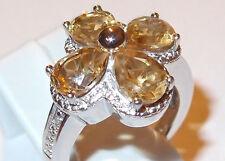 Citrine and Diamond floral ring (4.260ct) in platinum bond, Size Q.