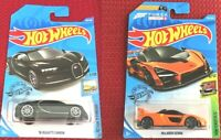 Hot Wheels BUGATTI Chiron BLACK + McLaren Senna Forza Edition Set of 2 Cars NEW