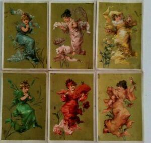 6 CHROMOS AU BON MARCHE FEMMES PAPILLON FLEURS