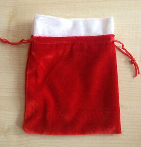 SMALL (9x9cm) soft Red velvet Christmas santa sack drawstring gift bag