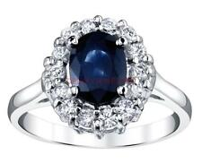 Sapphire Diamond Ring 2.60ct Natural Blue 14k White Gold Engagement