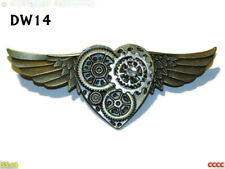 steampunk pin badge brooch bronze wings bronze heart cog I love you adore #Dw14