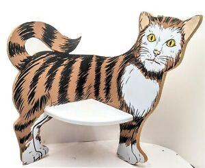 "Vtg 1991 MSR Imports Striped Brown and Black Cat Corner Shelf 10.5 X 9"" Taiwan"