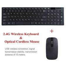 Black 2.4G Optical Wireless Keyboard with Mouse USB Receiver Kit for PC Computer