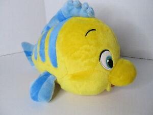 "Disney Store Little Mermaid Flounder Plush Dolls 10"" Authentic Genuine Patch"
