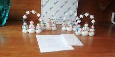 2259 Princess House SNOWPEOPLE Placecard Holders Set/4 Christmas Blank Cards NIB