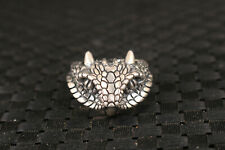 S925 solid silver hand cast owl statue ring jewel man fashionable gift