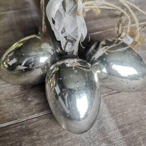 Hochwertige Silber Glaseier Verblendet Glas Ostereier 7 cm Glas Metall Eier