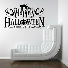 Happy Halloween Trick Treat Vinyl Decal Stickers Shop Window Wall Decoration