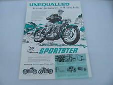 "Original 1958 Harley Davidson Sportster Brochure Flyer Poster 24"" tall x 17"""