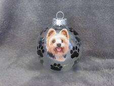 "HAND MADE YORKSHIRE TERRIER DOG 3"" GLASS CHRISTMAS ORNAMENT/BALL"