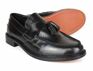 Ikon Weaver Patent Black Leather Tassled Loafer Mod Shoes Free UK P&P!