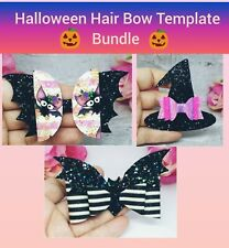 Halloween Hair bow Plastic Templates Bundle Bats Witches Hat