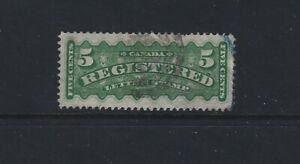 Canada 1876 Registration Stamp #F2 Green  Used  VF