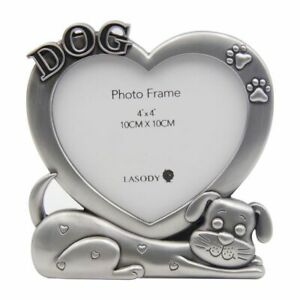 Dog Puppy Heart Paw Prints Photo Frame Free Standing Decor 12 cm