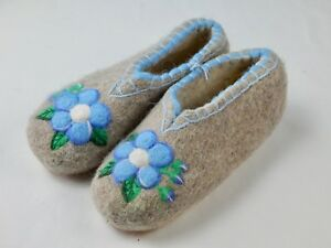100% Wool Felt Handmade Embroidered Winter Slippers Boots House Shoes Valenki )