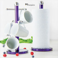 6 Cups Stainless Steel Mug Tree Stand Holder Kitchen Towel Paper Roll Purple