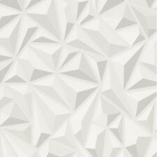 Geometric 3D Style White Grey Wallpaper Embossed Quality Vinyl Modern Erismann
