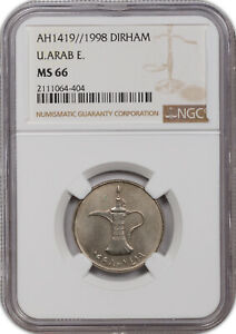 AH1419// 1998 1 DIRHAM UNITED ARAB EMIRATES NGC MS 66 ONLY 1 GRADED HIGHER