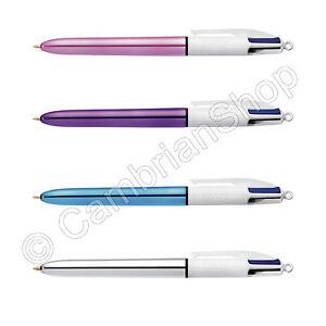 BIC 4 Multi Colour Shine Ballpoint Pen Black Blue Red Green Pink Silver Purple