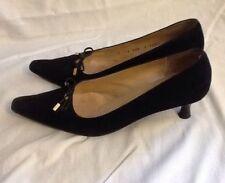"St. John Pumps, 2"" Heels Size 7 1/2, Black Leather Suede ,  Gold Trim"