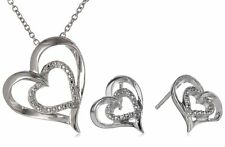 Sterling Silver Diamond-Accented Heart Earrings & Pendant Necklace Set $125 WOW!