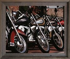 Harley Davidson Motorcycles In Row Wall Decor Barnwood Framed Art Print Picture