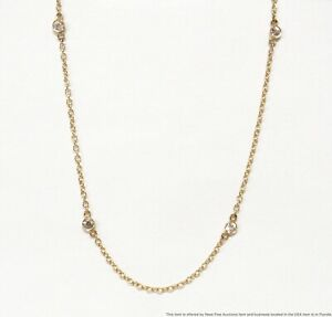14k Gold Round Brilliant Station Necklace Sim. Diamonds by the Yard Chain 18in