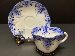 Vintage SHELLEY DAINTY BLUE CUP & SAUCER English Bone China 051/28 Blue Trim #1